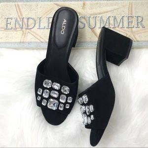 Aldo Black Suede Rhinestone Sandals Size 10